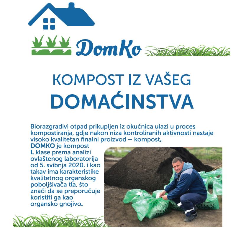 Kompost DomKo može se kupiti na svim blagajnama Komunalca i na Gradskoj tržnici